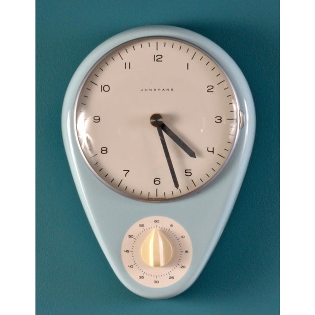 1950s Robin's Egg Blue Wall Clock by Max Bill For Sale - Image 5 of 5