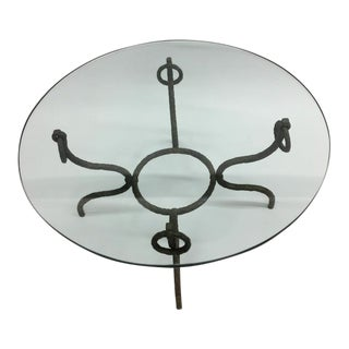 French Mid-Century Modern Hammered Iron / Bronze Coffee Table, Style Giacometti