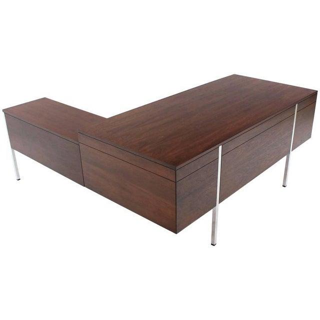 Dunbar Berne Large Walnut Dunbar Executive Desk with Return For Sale - Image 4 of 11
