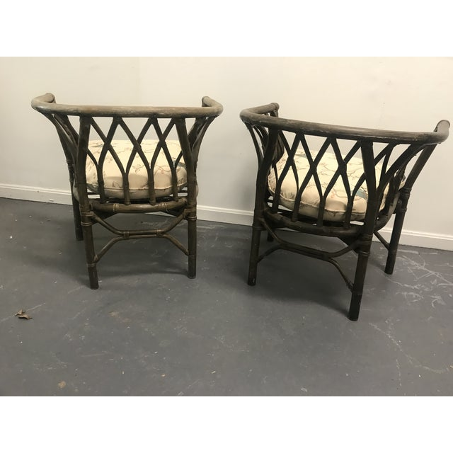 1970s Hatched Rattan Chairs - a Pair For Sale - Image 4 of 6