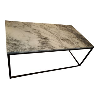 Rectangular Marble Coffee Table on Iron Base For Sale
