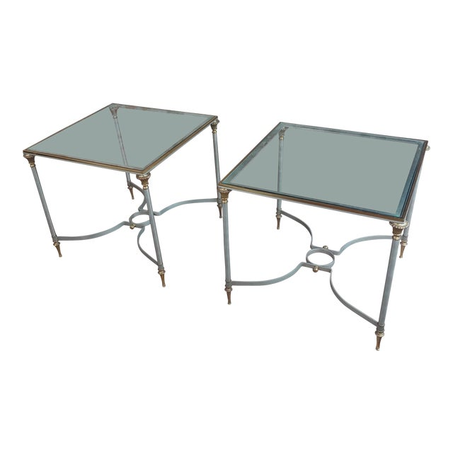 Vintage Brass French Side Tables W/Square Glass Top- a Pair For Sale