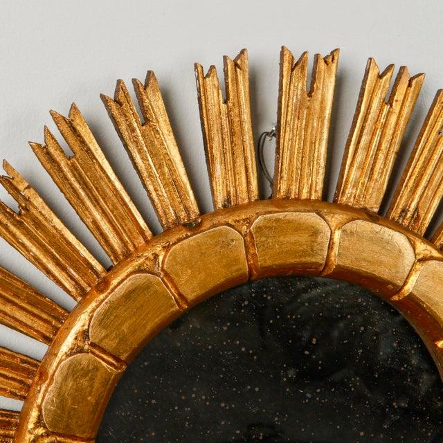 Mid-Century Medium Size Giltwood Sunburst Mirror For Sale In Detroit - Image 6 of 7