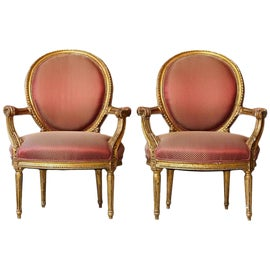 Image of Brick Red Bergere Chairs