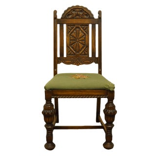 1920s English Gothic Revival Jacobean Style Walnut Dining Side Chair For Sale
