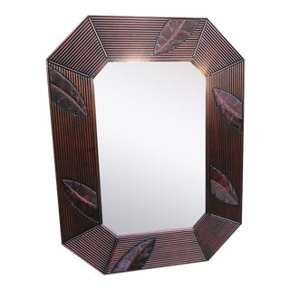 Extra Large British Colonial Tropical Palm Leaf Dark Stained Octagonal Wall Mirror For Sale