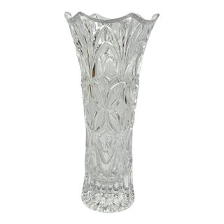 1970s Cut Glass Crystal Vase For Sale