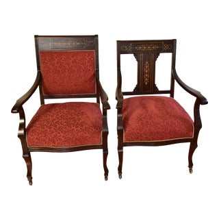 1910s Antique English Edwardian Mahogany Inlaid Armchairs - a Pair For Sale