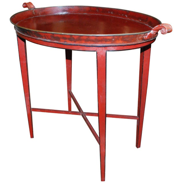 English Red Oval Table Tray - Image 1 of 8