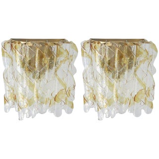 Pair of Ribbon Sconces by Mazzega For Sale