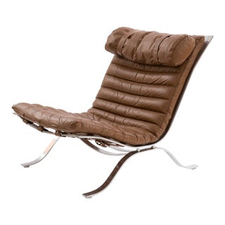 Arne Norell 'Ari' Steel and Leather Lounge Chair