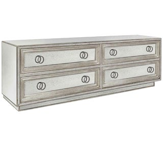 Customizable Four Drawer Mirror and Silver Leaf Dresser For Sale