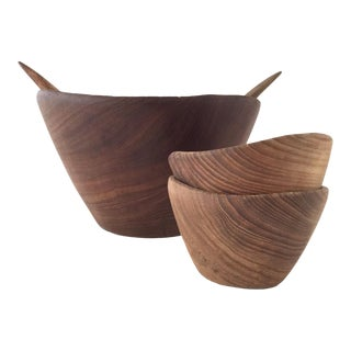Vintage Teak Farm House Salad Bowls & Servers - Set of 5 For Sale
