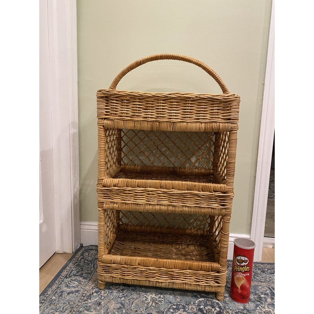 Large Palm Beach Wicker 3-Tier Tall Basket With Shelving For Sale - Image 9 of 10