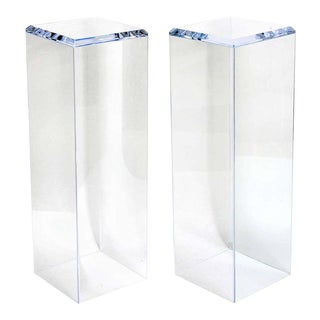 "36"" Lucite Pedestals Floor Samples by Iconic Snob Galeries - a Pair For Sale"