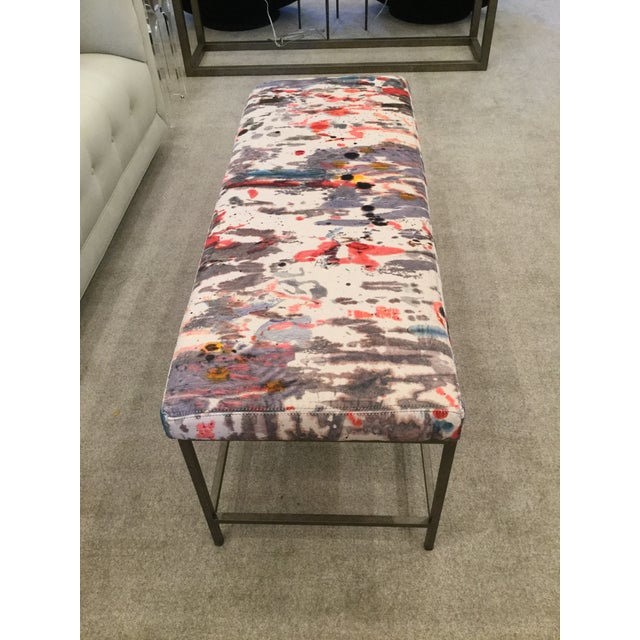 Custom Upholstered Bench in Holly Hunt Modern Fabric With Metal Frame - Image 2 of 5
