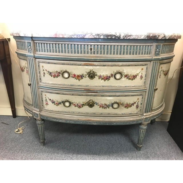 19th Century French Marble Top Demilune Chest For Sale - Image 4 of 10
