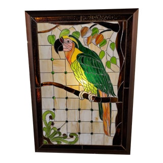 Mid 20th Century Art Nouveau Tiffany Style Stained Glass Parrot For Sale