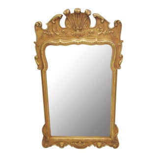 George II Style Gilt Carved Beveled Glass Mirror