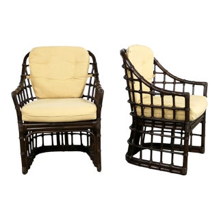 Brown Jordan Windowpane Dark Brown Rattan Lounge Chairs With Straw Color Cushions For Sale