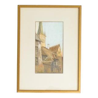 European Cityscape Pastel Drawing | Steeples of Tallin Estonia For Sale