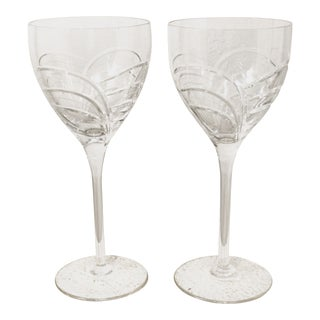 Contemporary Rogaska Wine Glasses - a Pair For Sale