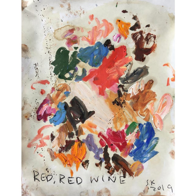 Abstract 'Red Red Wine' Abstract Oil Painting by Sean Kratzert For Sale - Image 3 of 3