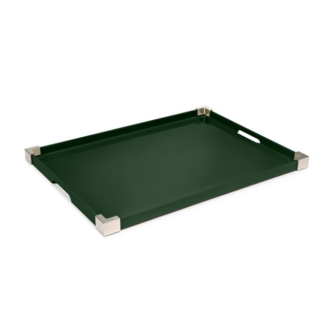 Corners Tray Nickel in Bottle Green / Nickel - Rita Konig for The Lacquer Company For Sale - Image 4 of 4