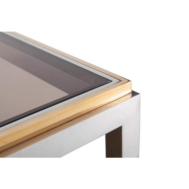 1970s Willy Rizzo Rectangular Coffee Table in Brass, Chrome and Glass For Sale - Image 5 of 8