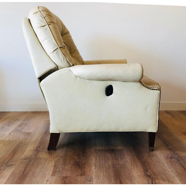 Bradington Young Distressed Tufted Leather Recliner and Ottoman For Sale - Image 11 of 13