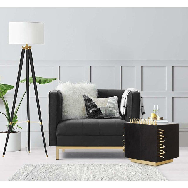 Black Leather Danger Side Table With Gold Spikes, Brass, Living Room ...