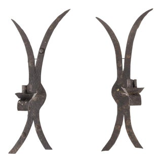19th C. Door Hinge Candle Sconces - A Pair