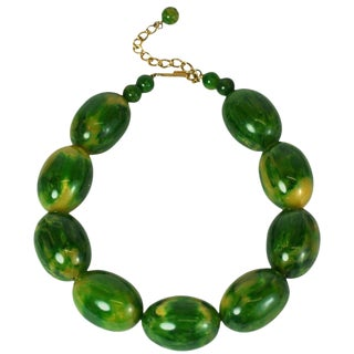 Lanvin End of Day Green Bakelite Beads For Sale