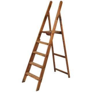 Folding Wooden Library Ladder From Late 19th Century France For Sale