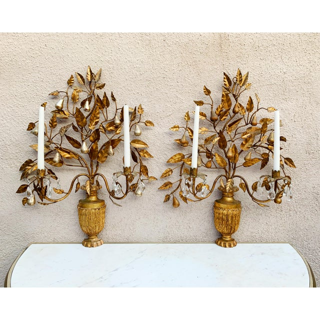 Metal Hollywood Regency Giltwood Wall Sconces - a Pair For Sale - Image 7 of 12