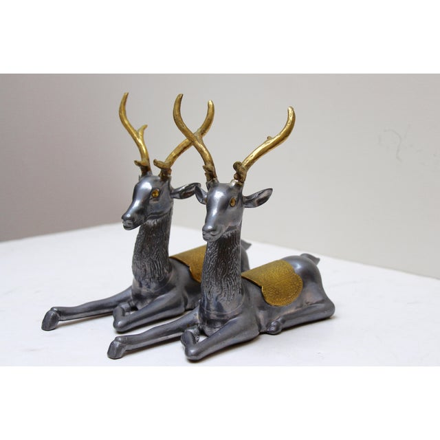 Pewter & Brass Seated Deer - A Pair - Image 4 of 5