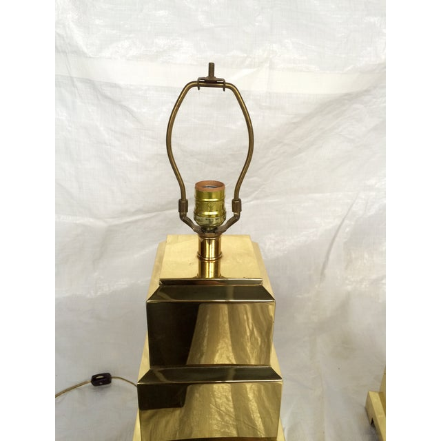 F. Cooper Brass Pagoda Lamps - Pair - Image 3 of 9