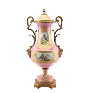"""1800s Sevres-Style Museum-Quality Urn: 24"""" Rose Pompadour Porcelain & Gilded Bronze W/Satyrs For Sale"""
