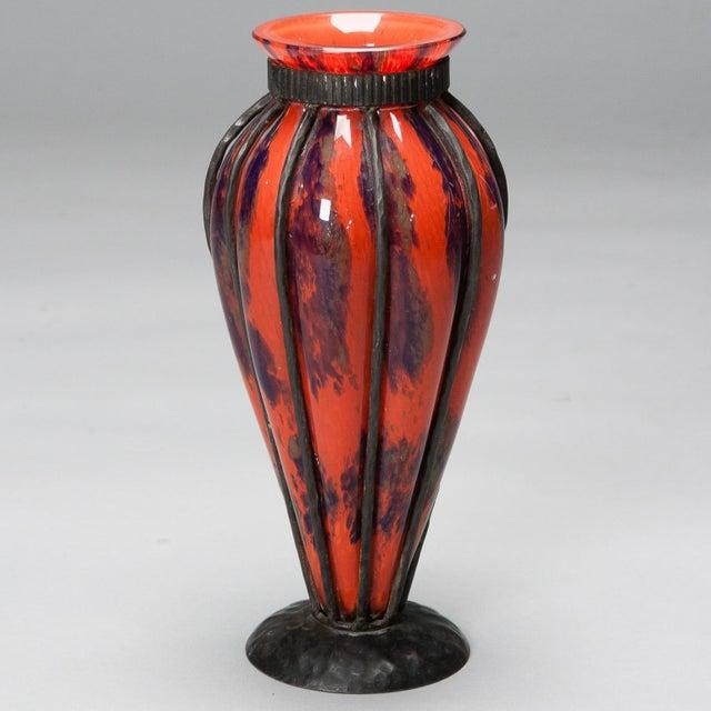 Daum Verreries d'Art Lorraine Vase with D'Avesn Iron Surround - Image 2 of 4