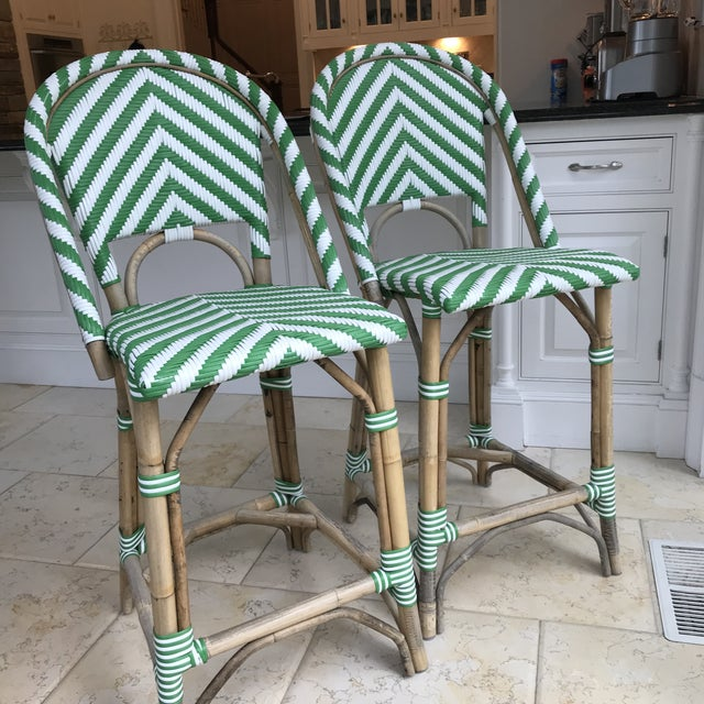 Pair of Green & White Stripe Rattan Bamboo Bar Stools Seat & accents are in a bold and bright Kelly green/white stripe...
