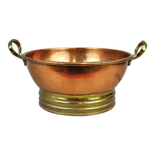 Antique Copper Bowl With Handles