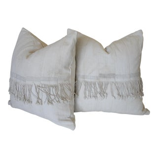 Creamy White African Mudcloth Pillows - a Pair For Sale