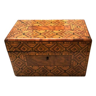 Mid19th Century English Tunbridge Ware Inlaid Tea Caddy For Sale