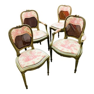 Late 19th Century Louis XVI Style Grey Painted Dining Chairs- Set of 4 For Sale