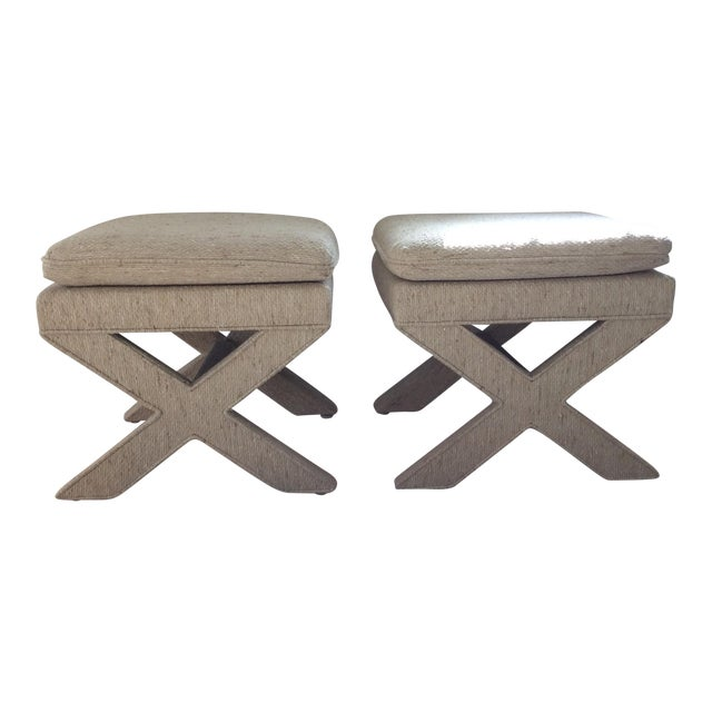 Billy Baldwin X-Shaped Ottomans - A Pair For Sale