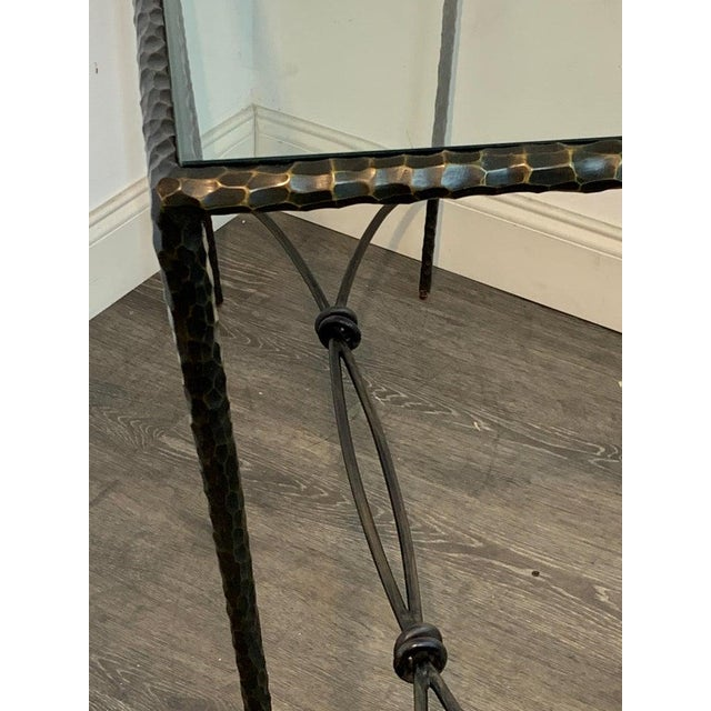 Gold French Modern Cast Bronze and Glass Console Table For Sale - Image 8 of 10