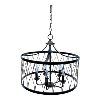 Vintage Wrought Iron Drum Pendant Light For Sale