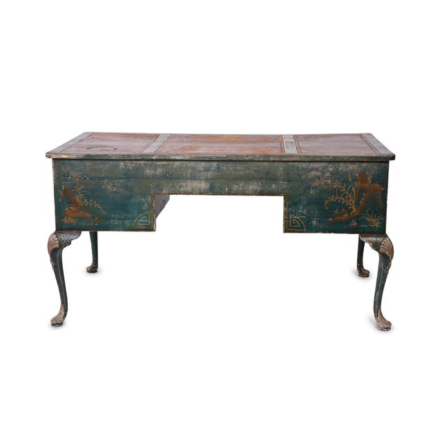 Queen Anne Queen Anne Style Green Patinated Desk For Sale - Image 3 of 8