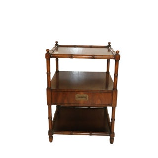 1960s Henredon Faux Bamboo Nightstand For Sale