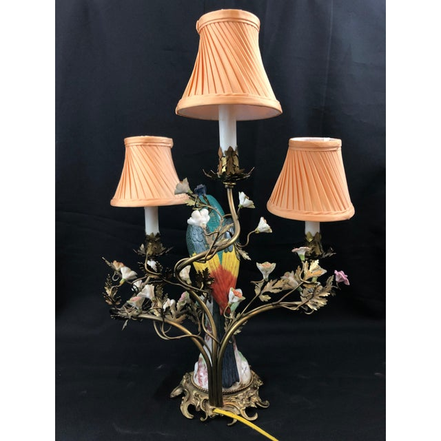 Porcelain and Ormolu Parrot Lamp After Meissen, German, 3-Light For Sale In Seattle - Image 6 of 8